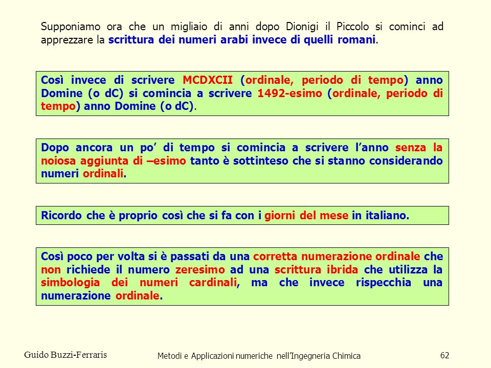 Metodi e Applicazioni numeriche nellIngegneria Chimica 62 Guido Buzzi-Ferraris Supponiamo ora che un migliaio di anni dopo Dionigi il Piccolo si comin