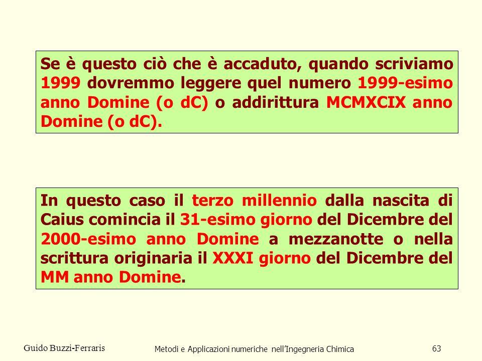 Metodi e Applicazioni numeriche nellIngegneria Chimica 63 Guido Buzzi-Ferraris Se è questo ciò che è accaduto, quando scriviamo 1999 dovremmo leggere