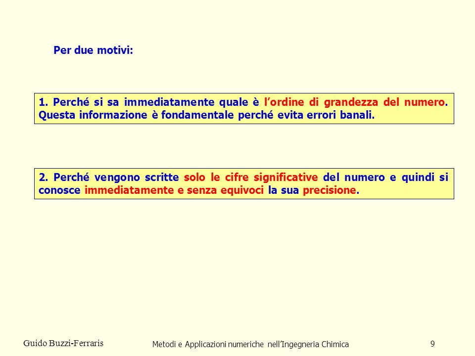 Metodi e Applicazioni numeriche nellIngegneria Chimica 9 Guido Buzzi-Ferraris Per due motivi: 1. Perché si sa immediatamente quale è lordine di grande