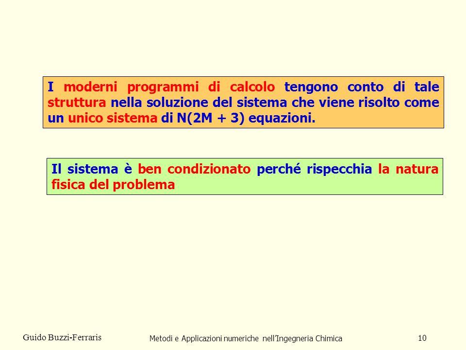 Metodi e Applicazioni numeriche nellIngegneria Chimica 10 Guido Buzzi-Ferraris I moderni programmi di calcolo tengono conto di tale struttura nella so