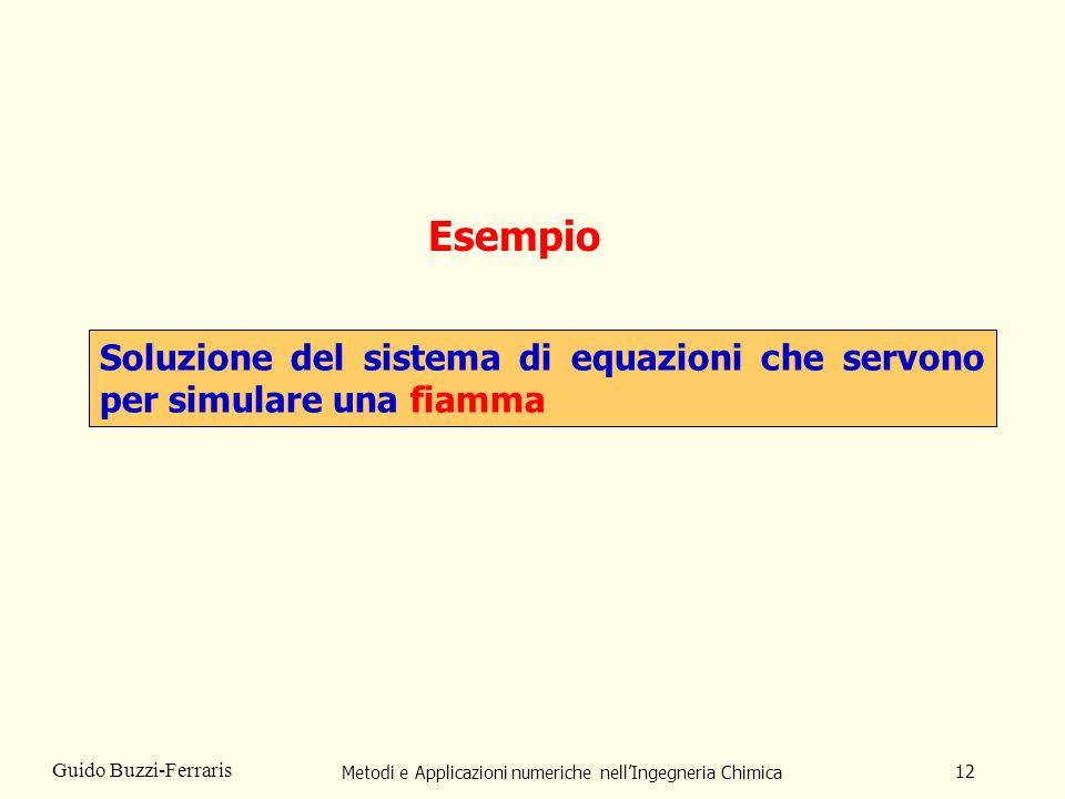 Metodi e Applicazioni numeriche nellIngegneria Chimica 12 Guido Buzzi-Ferraris Esempio Soluzione del sistema di equazioni che servono per simulare una