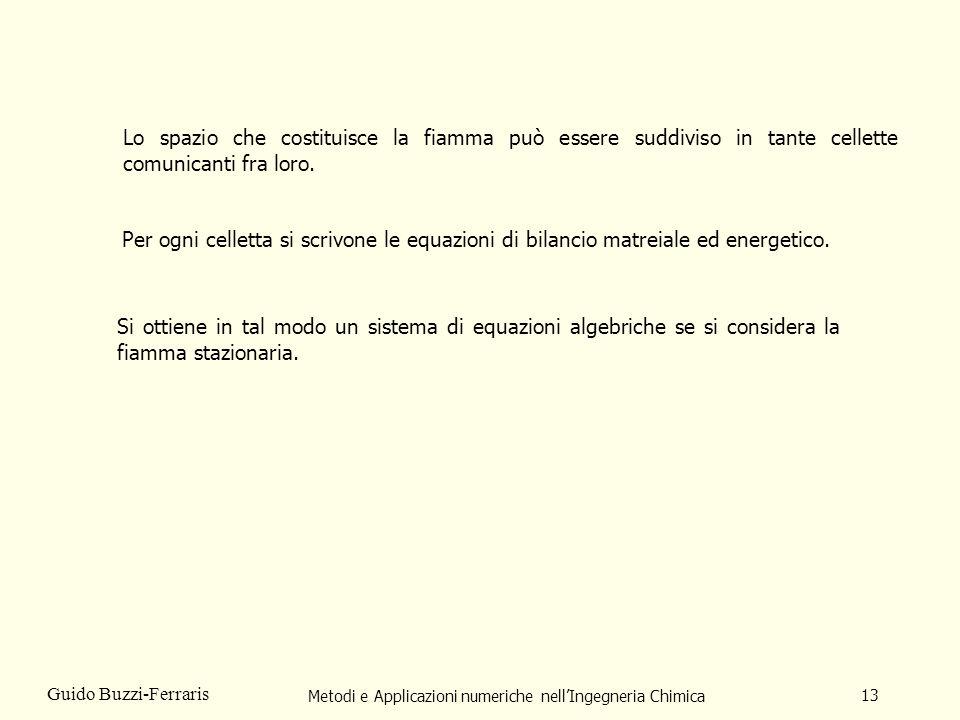 Metodi e Applicazioni numeriche nellIngegneria Chimica 13 Guido Buzzi-Ferraris Lo spazio che costituisce la fiamma può essere suddiviso in tante celle