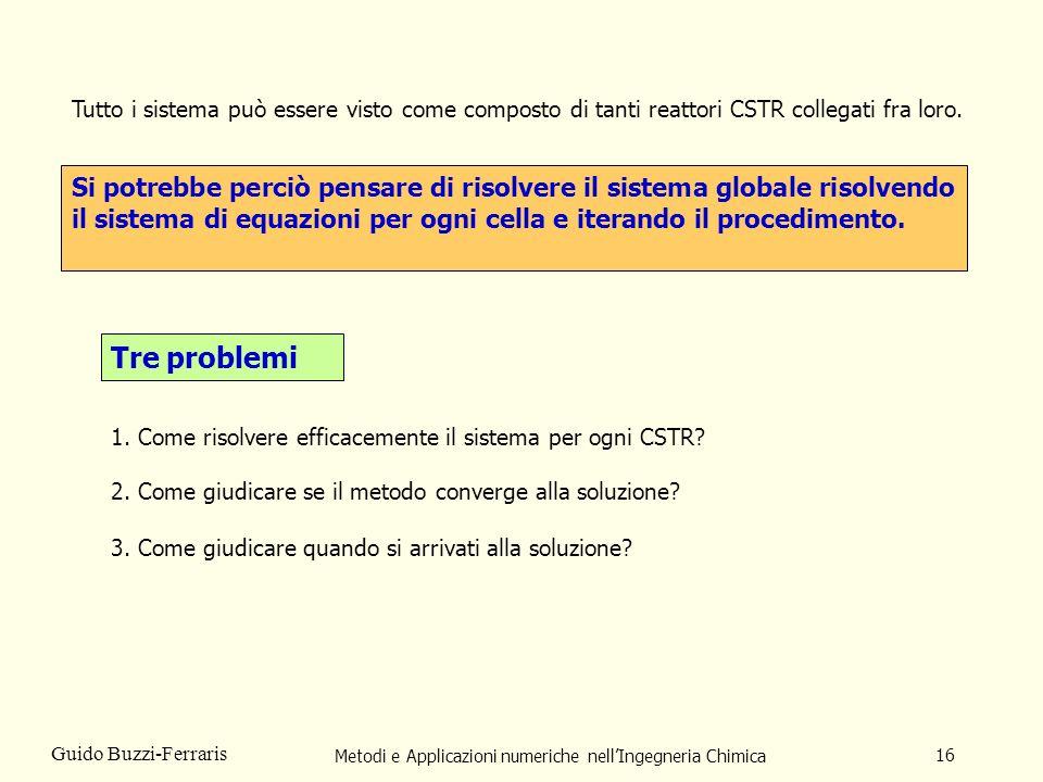Metodi e Applicazioni numeriche nellIngegneria Chimica 16 Guido Buzzi-Ferraris Si potrebbe perciò pensare di risolvere il sistema globale risolvendo i