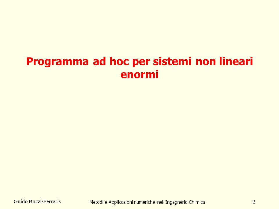 Metodi e Applicazioni numeriche nellIngegneria Chimica 2 Guido Buzzi-Ferraris Programma ad hoc per sistemi non lineari enormi