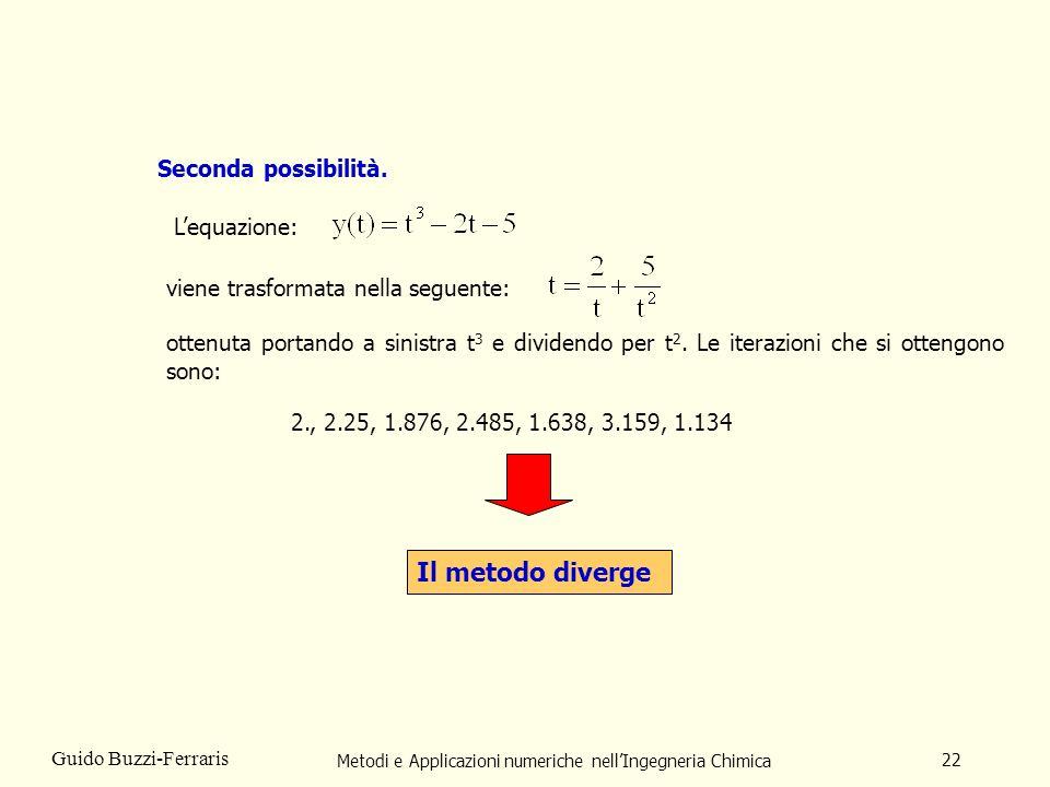 Metodi e Applicazioni numeriche nellIngegneria Chimica 22 Guido Buzzi-Ferraris Seconda possibilità. ottenuta portando a sinistra t 3 e dividendo per t