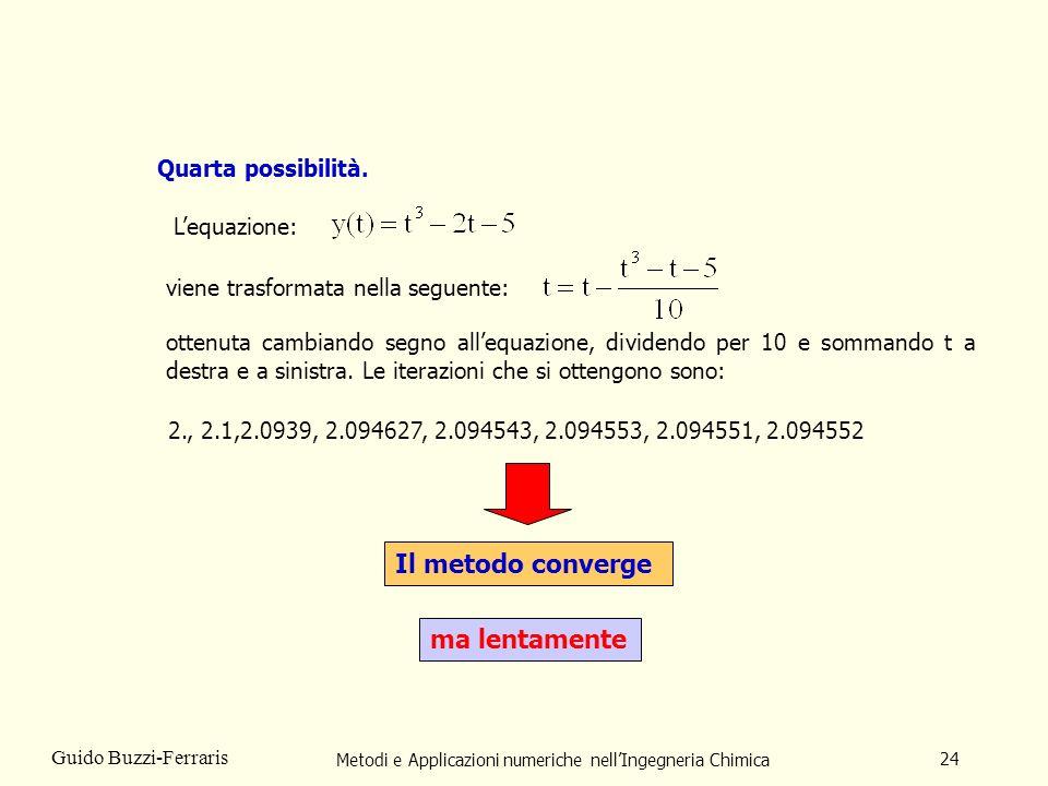 Metodi e Applicazioni numeriche nellIngegneria Chimica 24 Guido Buzzi-Ferraris Quarta possibilità. ottenuta cambiando segno allequazione, dividendo pe