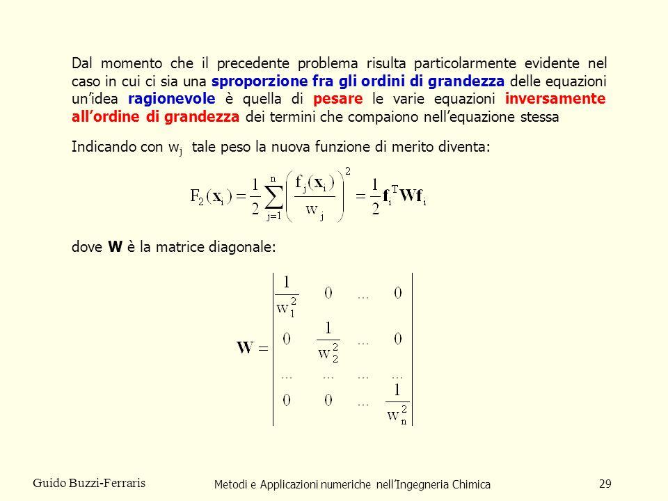 Metodi e Applicazioni numeriche nellIngegneria Chimica 29 Guido Buzzi-Ferraris Dal momento che il precedente problema risulta particolarmente evidente