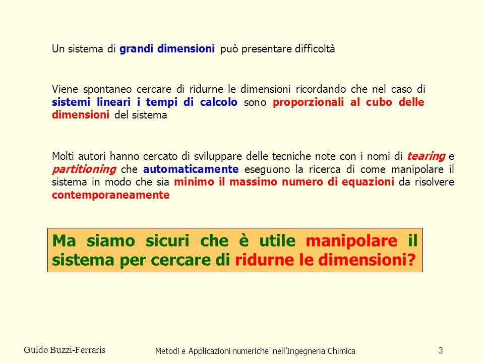Metodi e Applicazioni numeriche nellIngegneria Chimica 14 Guido Buzzi-Ferraris Se le equazioni e le variabili vengono ordinate per celletta il sistema non lineare ha la seguente struttura.