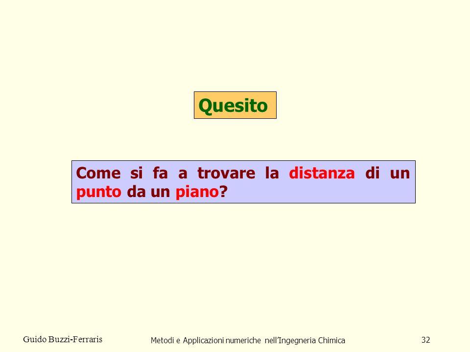Metodi e Applicazioni numeriche nellIngegneria Chimica 32 Guido Buzzi-Ferraris Quesito Come si fa a trovare la distanza di un punto da un piano?