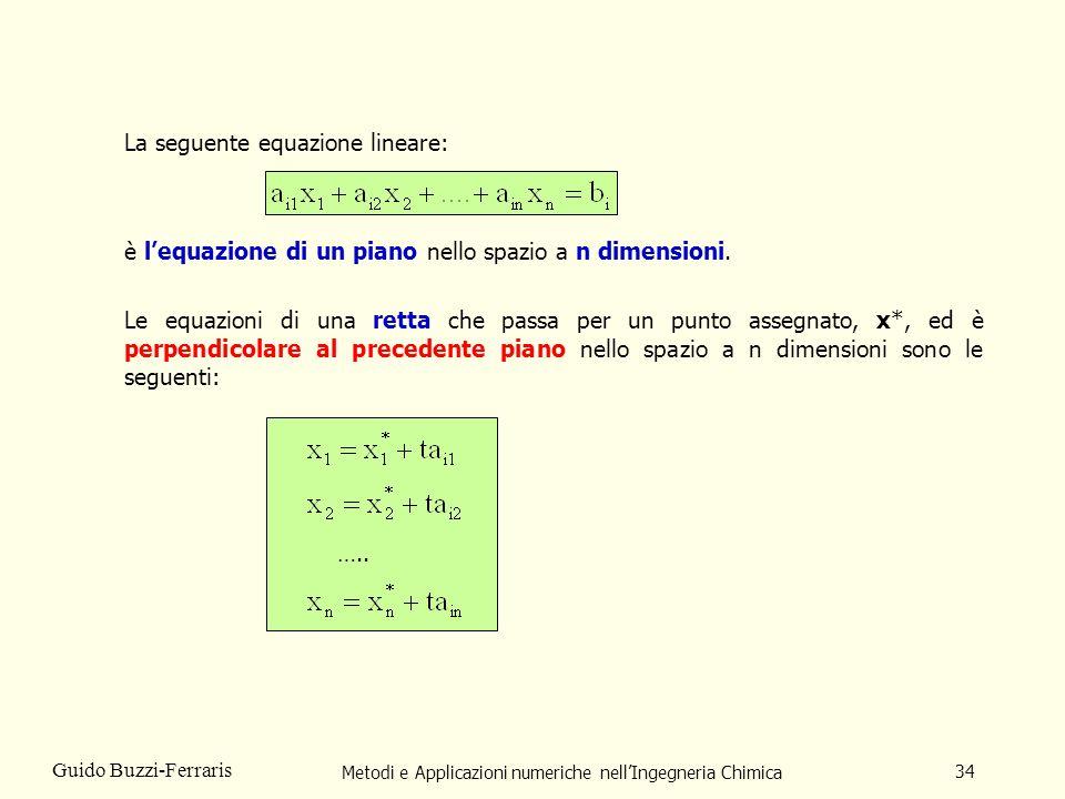 Metodi e Applicazioni numeriche nellIngegneria Chimica 34 Guido Buzzi-Ferraris La seguente equazione lineare: è lequazione di un piano nello spazio a