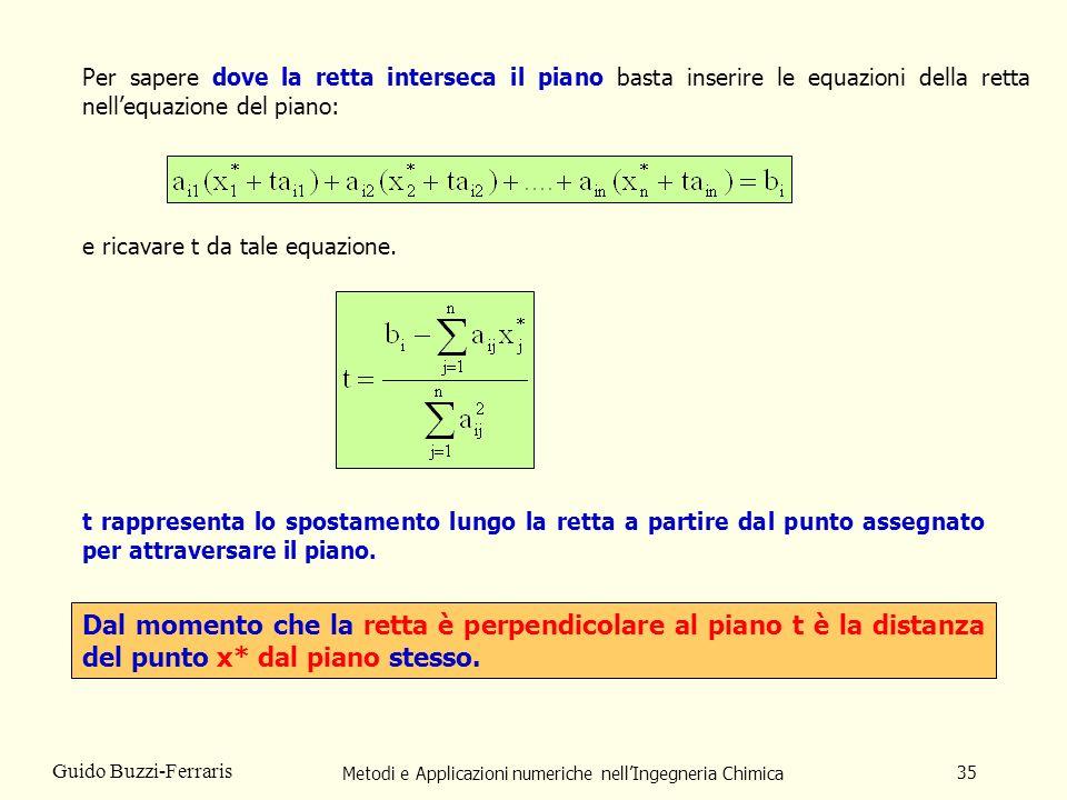 Metodi e Applicazioni numeriche nellIngegneria Chimica 35 Guido Buzzi-Ferraris Per sapere dove la retta interseca il piano basta inserire le equazioni