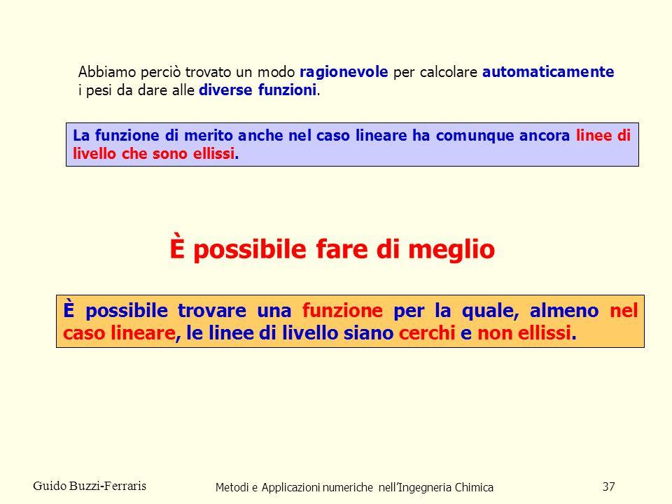 Metodi e Applicazioni numeriche nellIngegneria Chimica 37 Guido Buzzi-Ferraris È possibile trovare una funzione per la quale, almeno nel caso lineare,