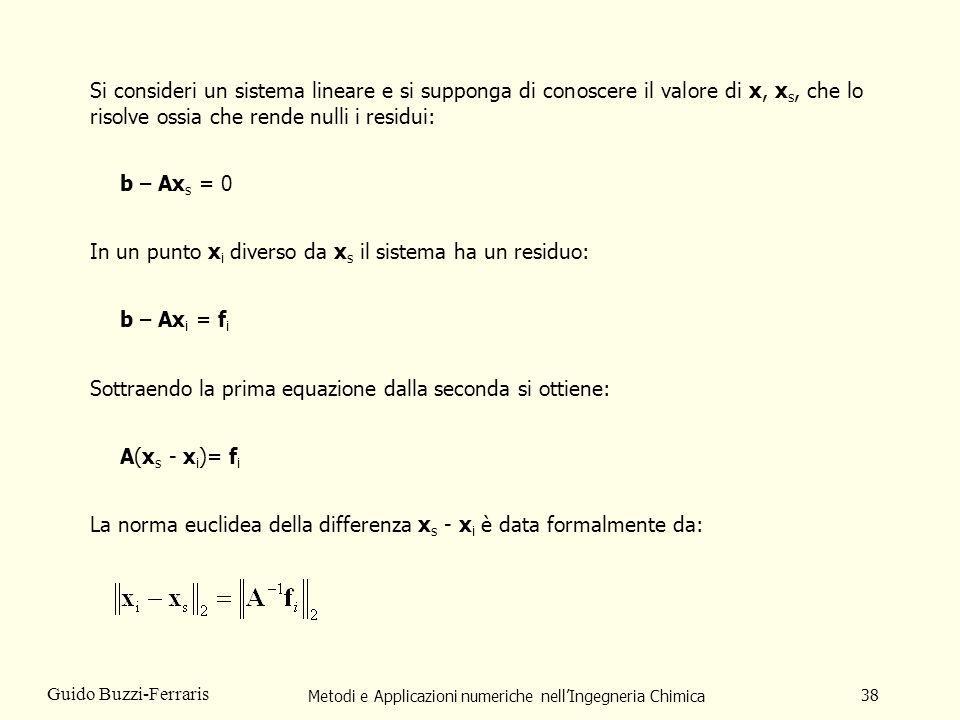Metodi e Applicazioni numeriche nellIngegneria Chimica 38 Guido Buzzi-Ferraris Si consideri un sistema lineare e si supponga di conoscere il valore di