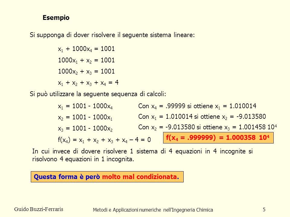 Metodi e Applicazioni numeriche nellIngegneria Chimica 5 Guido Buzzi-Ferraris Esempio Si supponga di dover risolvere il seguente sistema lineare: Si p