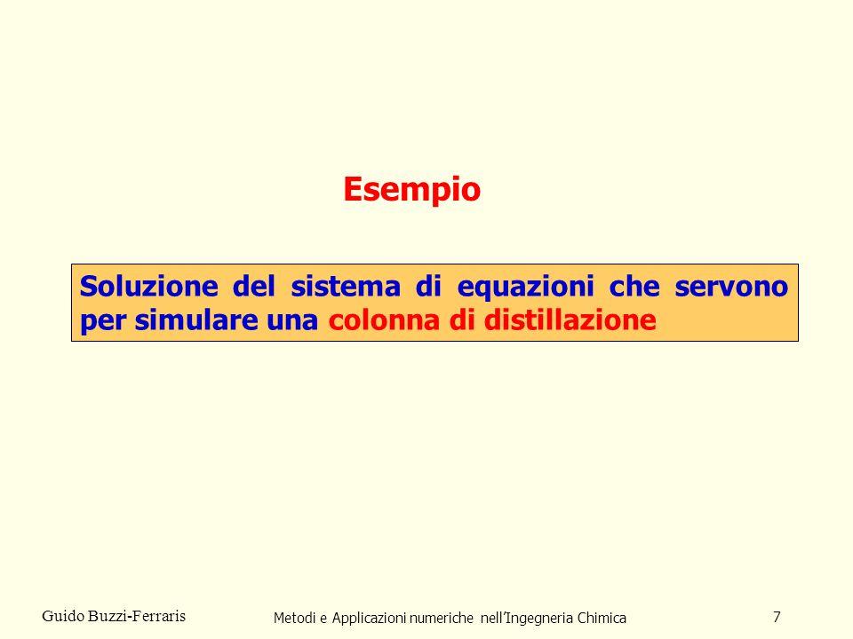 Metodi e Applicazioni numeriche nellIngegneria Chimica 7 Guido Buzzi-Ferraris Esempio Soluzione del sistema di equazioni che servono per simulare una