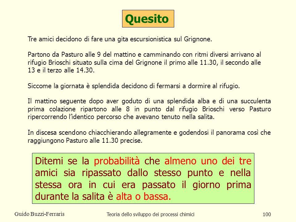 Teoria dello sviluppo dei processi chimici100 Guido Buzzi-Ferraris Quesito Ditemi se la probabilità che almeno uno dei tre amici sia ripassato dallo s