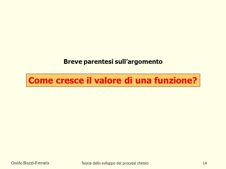 Teoria dello sviluppo dei processi chimici14 Guido Buzzi-Ferraris Breve parentesi sullargomento Come cresce il valore di una funzione?