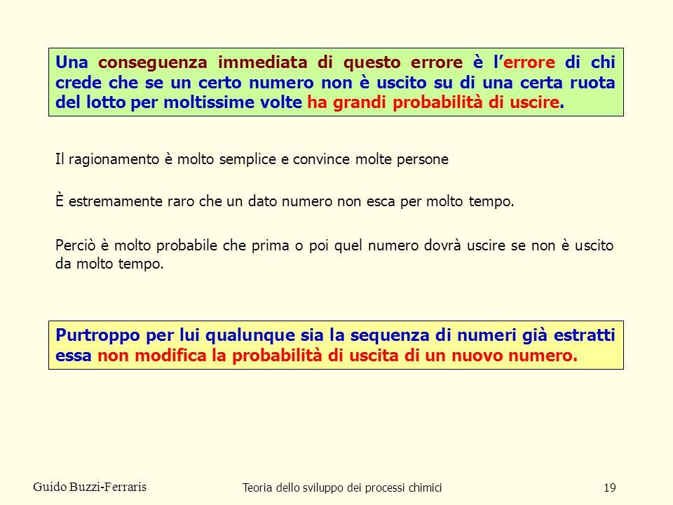 Teoria dello sviluppo dei processi chimici19 Guido Buzzi-Ferraris Una conseguenza immediata di questo errore è lerrore di chi crede che se un certo nu