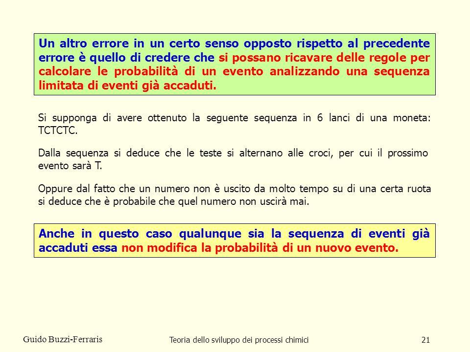 Teoria dello sviluppo dei processi chimici21 Guido Buzzi-Ferraris Un altro errore in un certo senso opposto rispetto al precedente errore è quello di