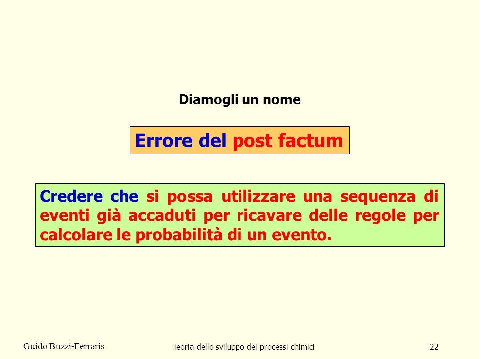 Teoria dello sviluppo dei processi chimici22 Guido Buzzi-Ferraris Diamogli un nome Errore del post factum Credere che si possa utilizzare una sequenza