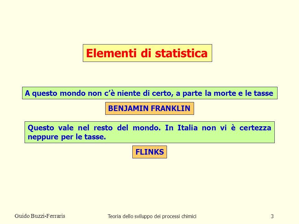 Teoria dello sviluppo dei processi chimici4 Guido Buzzi-Ferraris Compito della statistica è quello di collezionare, analizzare, interpretare dati estratti da una popolazione più vasta.