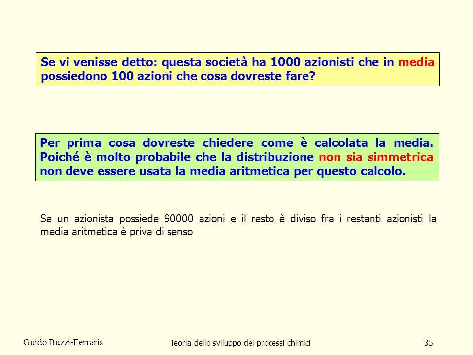 Teoria dello sviluppo dei processi chimici35 Guido Buzzi-Ferraris Se vi venisse detto: questa società ha 1000 azionisti che in media possiedono 100 az