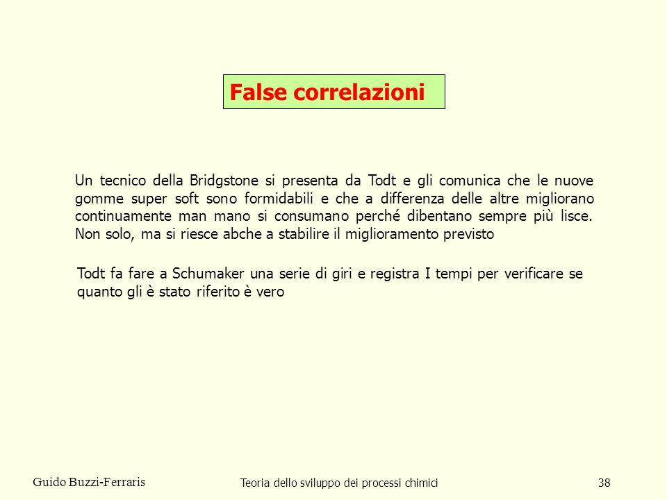 Teoria dello sviluppo dei processi chimici38 Guido Buzzi-Ferraris False correlazioni Un tecnico della Bridgstone si presenta da Todt e gli comunica ch