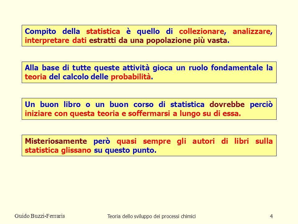 Teoria dello sviluppo dei processi chimici45 Guido Buzzi-Ferraris Qui di seguito vi presenterò un esempio emblematico di questo tipo di errore e dellarroganza con cui certi statistici lo usano per trattare da ignoranti i comuni mortali.