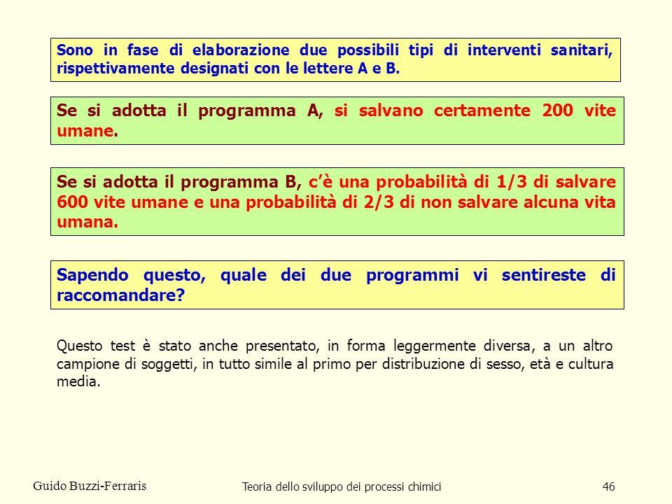 Teoria dello sviluppo dei processi chimici46 Guido Buzzi-Ferraris Sono in fase di elaborazione due possibili tipi di interventi sanitari, rispettivame