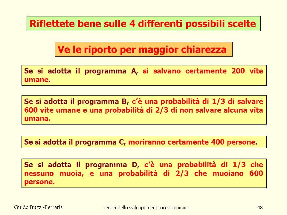 Teoria dello sviluppo dei processi chimici48 Guido Buzzi-Ferraris Riflettete bene sulle 4 differenti possibili scelte Se si adotta il programma A, si