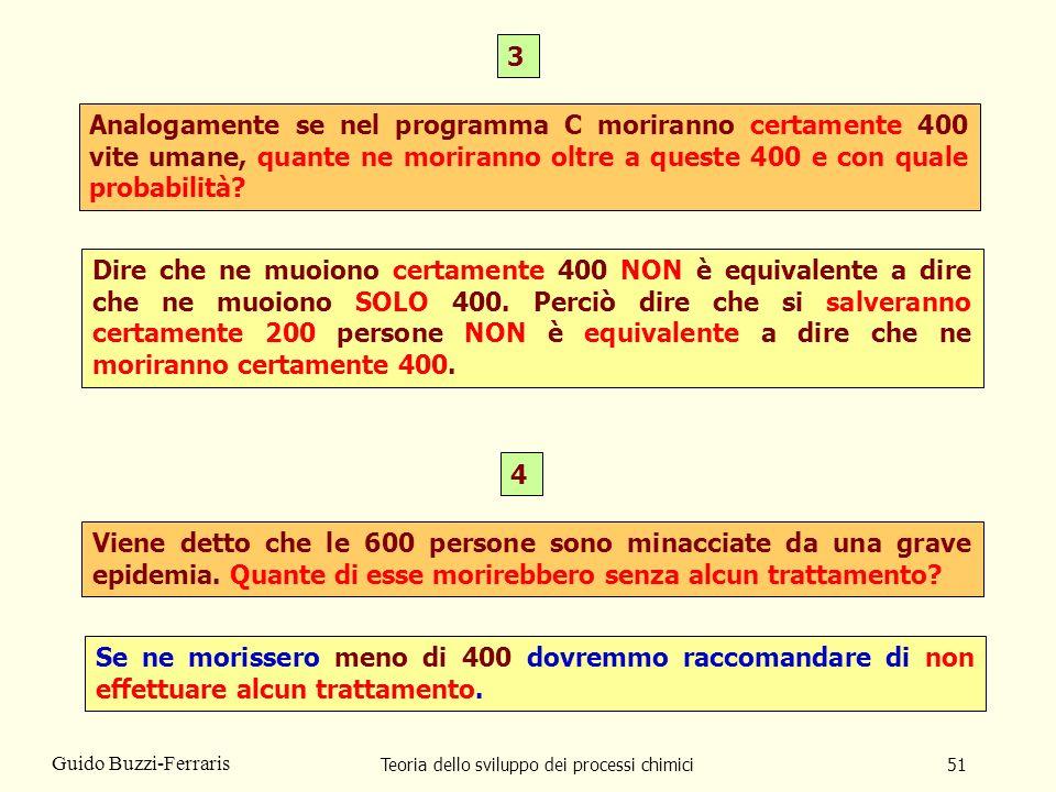 Teoria dello sviluppo dei processi chimici51 Guido Buzzi-Ferraris Analogamente se nel programma C moriranno certamente 400 vite umane, quante ne morir
