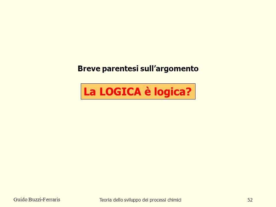 Teoria dello sviluppo dei processi chimici52 Guido Buzzi-Ferraris Breve parentesi sullargomento La LOGICA è logica?