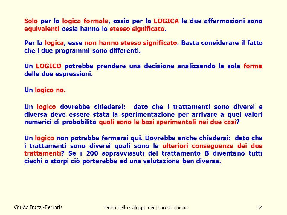 Teoria dello sviluppo dei processi chimici54 Guido Buzzi-Ferraris Solo per la logica formale, ossia per la LOGICA le due affermazioni sono equivalenti