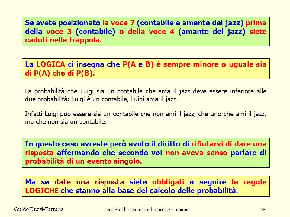 Teoria dello sviluppo dei processi chimici58 Guido Buzzi-Ferraris Se avete posizionato la voce 7 (contabile e amante del jazz) prima della voce 3 (con