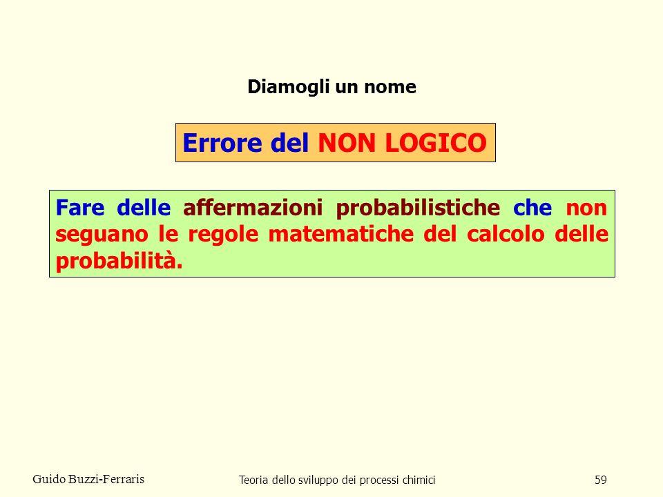 Teoria dello sviluppo dei processi chimici59 Guido Buzzi-Ferraris Diamogli un nome Errore del NON LOGICO Fare delle affermazioni probabilistiche che n