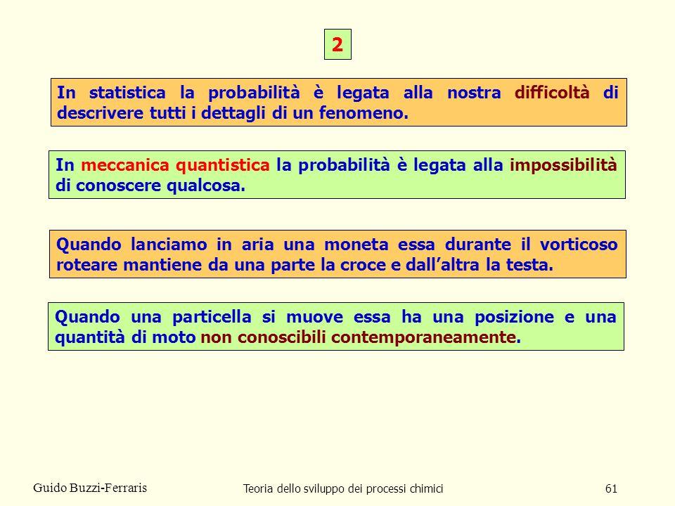Teoria dello sviluppo dei processi chimici61 Guido Buzzi-Ferraris In statistica la probabilità è legata alla nostra difficoltà di descrivere tutti i d
