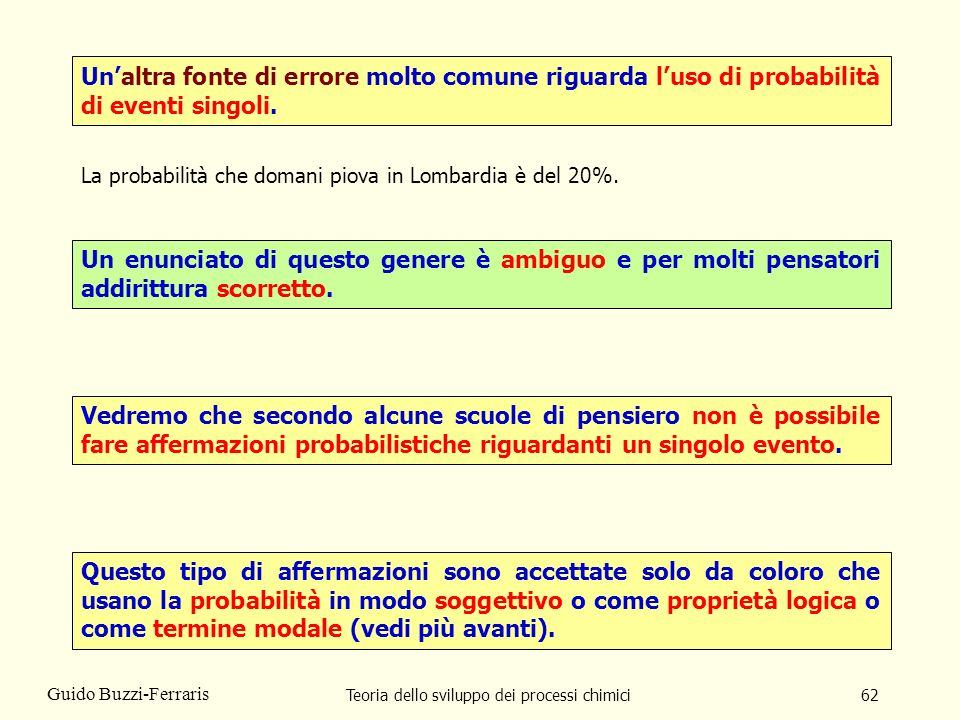 Teoria dello sviluppo dei processi chimici62 Guido Buzzi-Ferraris Unaltra fonte di errore molto comune riguarda luso di probabilità di eventi singoli.