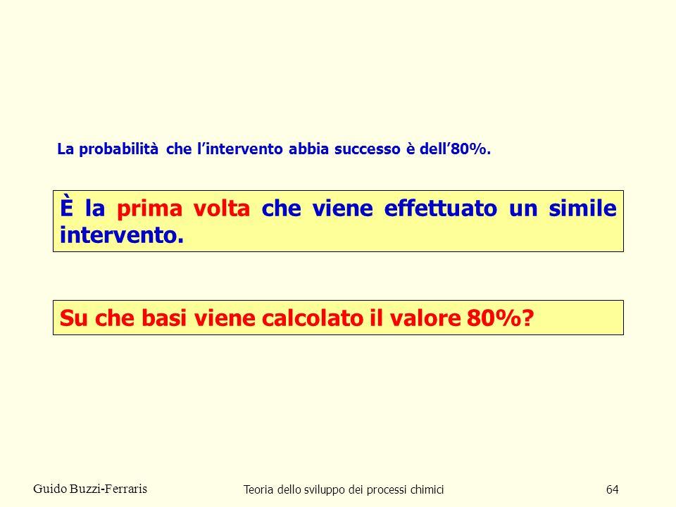 Teoria dello sviluppo dei processi chimici64 Guido Buzzi-Ferraris La probabilità che lintervento abbia successo è dell80%. È la prima volta che viene