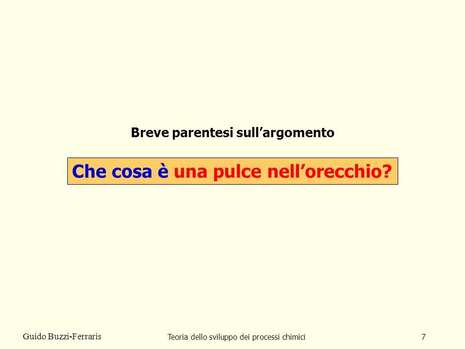 Teoria dello sviluppo dei processi chimici7 Guido Buzzi-Ferraris Breve parentesi sullargomento Che cosa è una pulce nellorecchio?