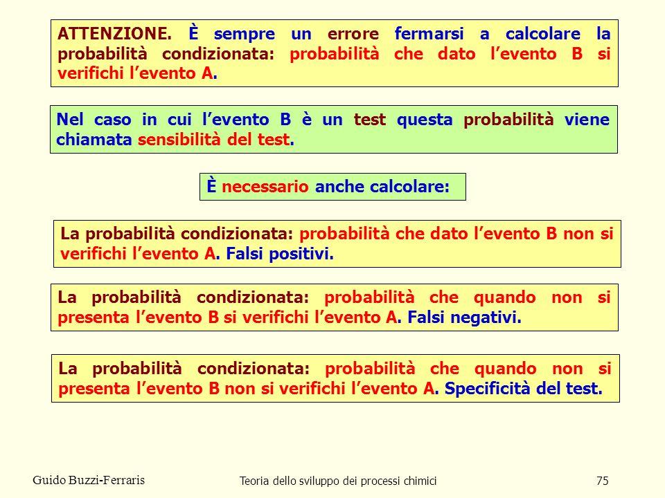 Teoria dello sviluppo dei processi chimici75 Guido Buzzi-Ferraris ATTENZIONE. È sempre un errore fermarsi a calcolare la probabilità condizionata: pro