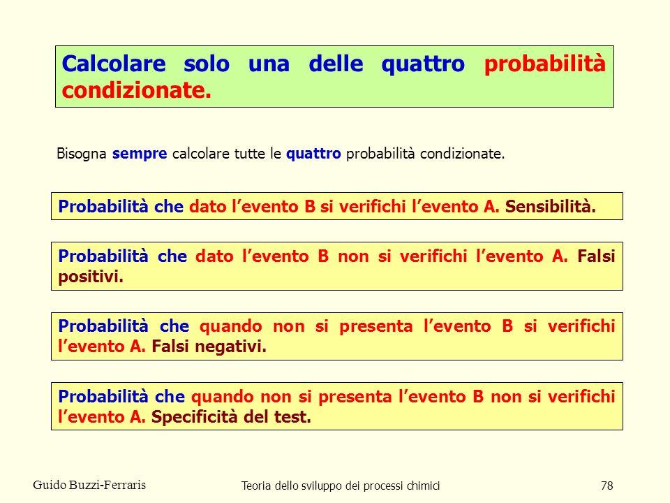 Teoria dello sviluppo dei processi chimici78 Guido Buzzi-Ferraris Calcolare solo una delle quattro probabilità condizionate. Bisogna sempre calcolare