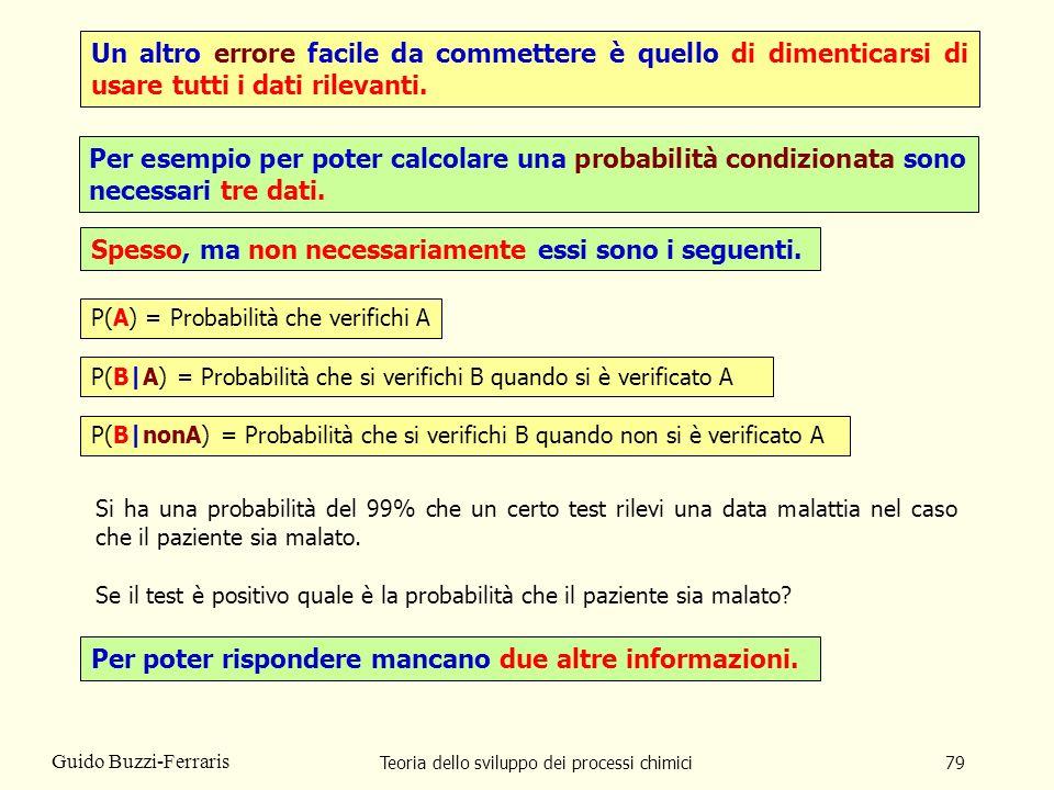Teoria dello sviluppo dei processi chimici79 Guido Buzzi-Ferraris Un altro errore facile da commettere è quello di dimenticarsi di usare tutti i dati