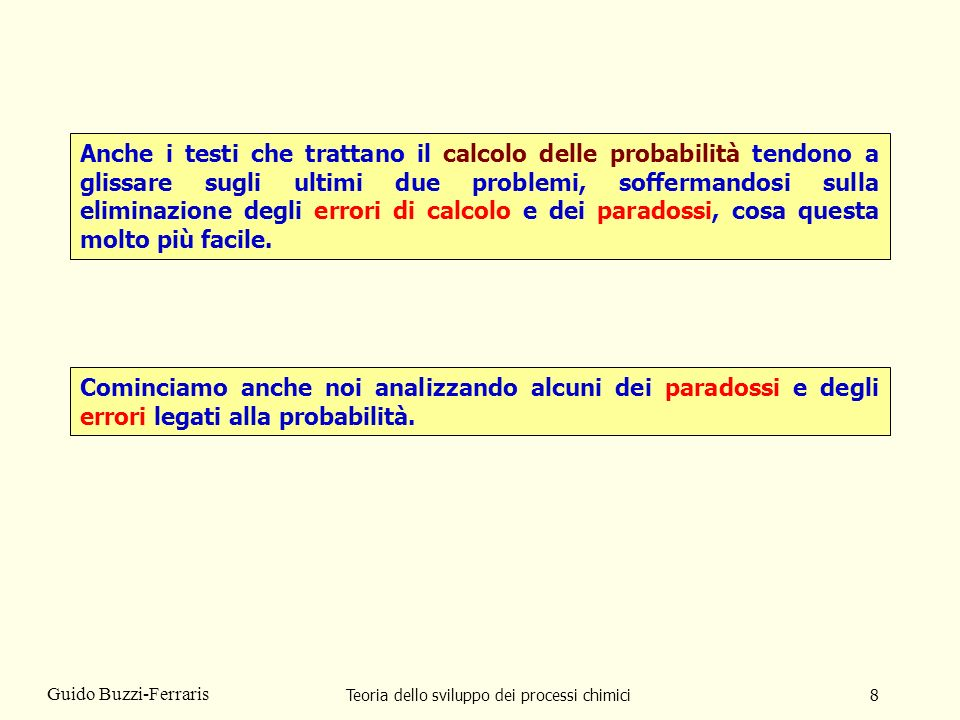 Teoria dello sviluppo dei processi chimici59 Guido Buzzi-Ferraris Diamogli un nome Errore del NON LOGICO Fare delle affermazioni probabilistiche che non seguano le regole matematiche del calcolo delle probabilità.
