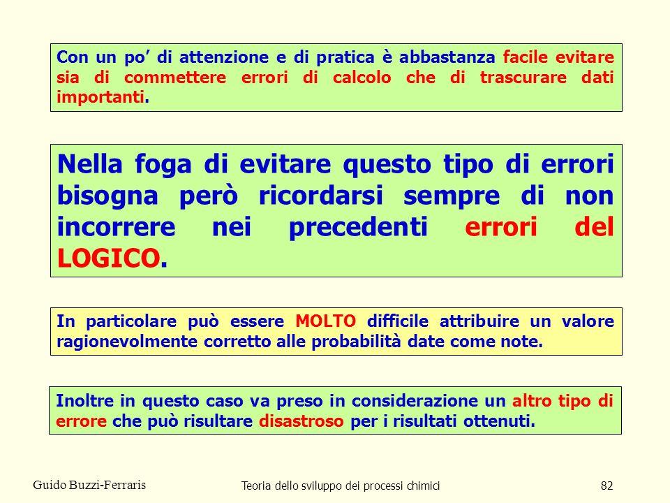 Teoria dello sviluppo dei processi chimici82 Guido Buzzi-Ferraris Con un po di attenzione e di pratica è abbastanza facile evitare sia di commettere e