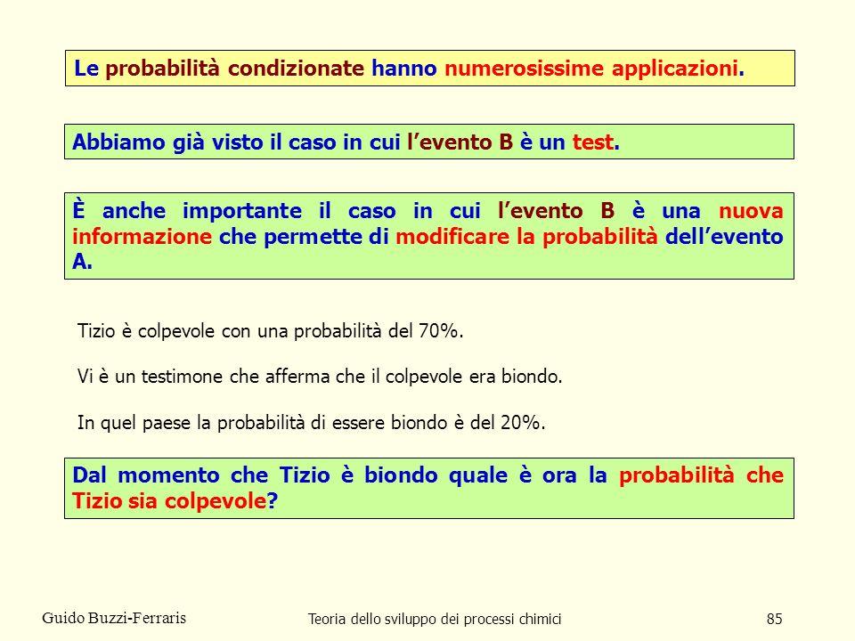 Teoria dello sviluppo dei processi chimici85 Guido Buzzi-Ferraris Le probabilità condizionate hanno numerosissime applicazioni. Abbiamo già visto il c