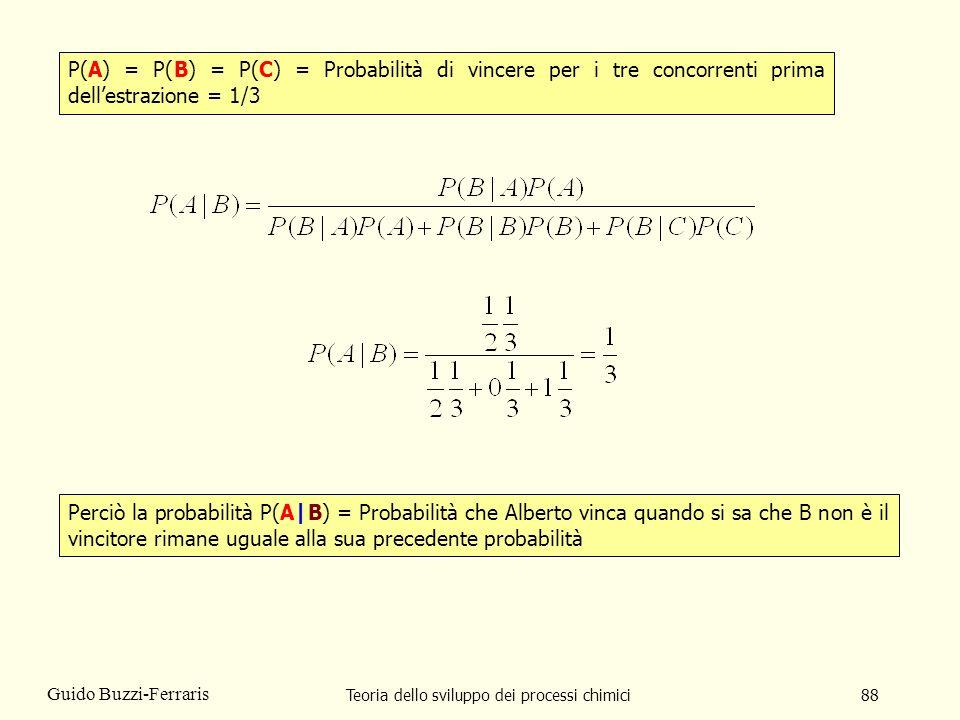 Teoria dello sviluppo dei processi chimici88 Guido Buzzi-Ferraris P(A) = P(B) = P(C) = Probabilità di vincere per i tre concorrenti prima dellestrazio