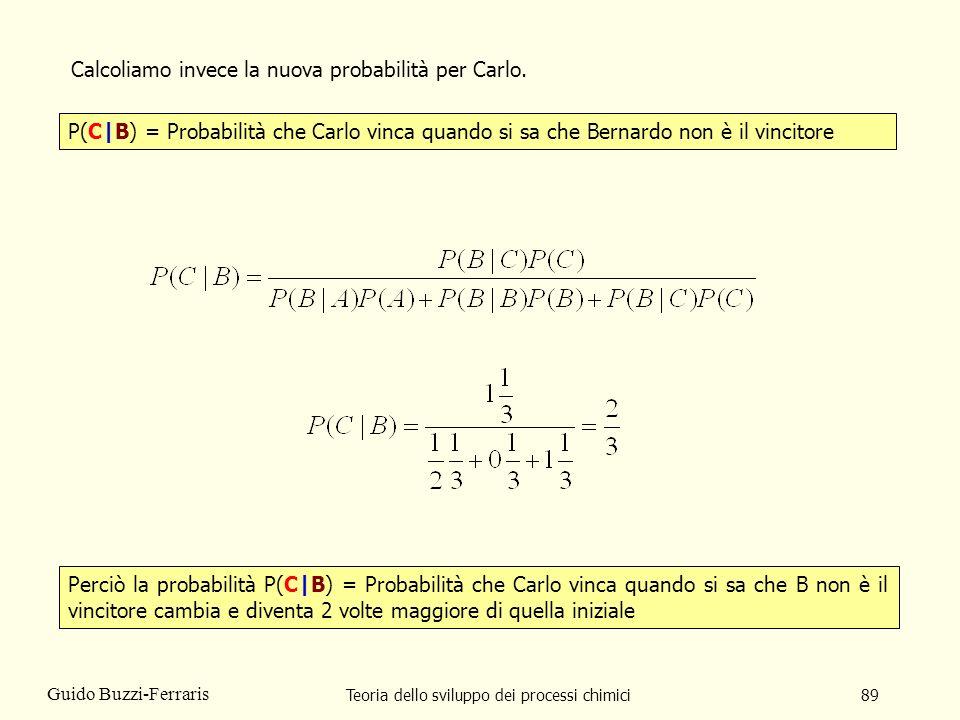 Teoria dello sviluppo dei processi chimici89 Guido Buzzi-Ferraris P(C|B) = Probabilità che Carlo vinca quando si sa che Bernardo non è il vincitore Ca