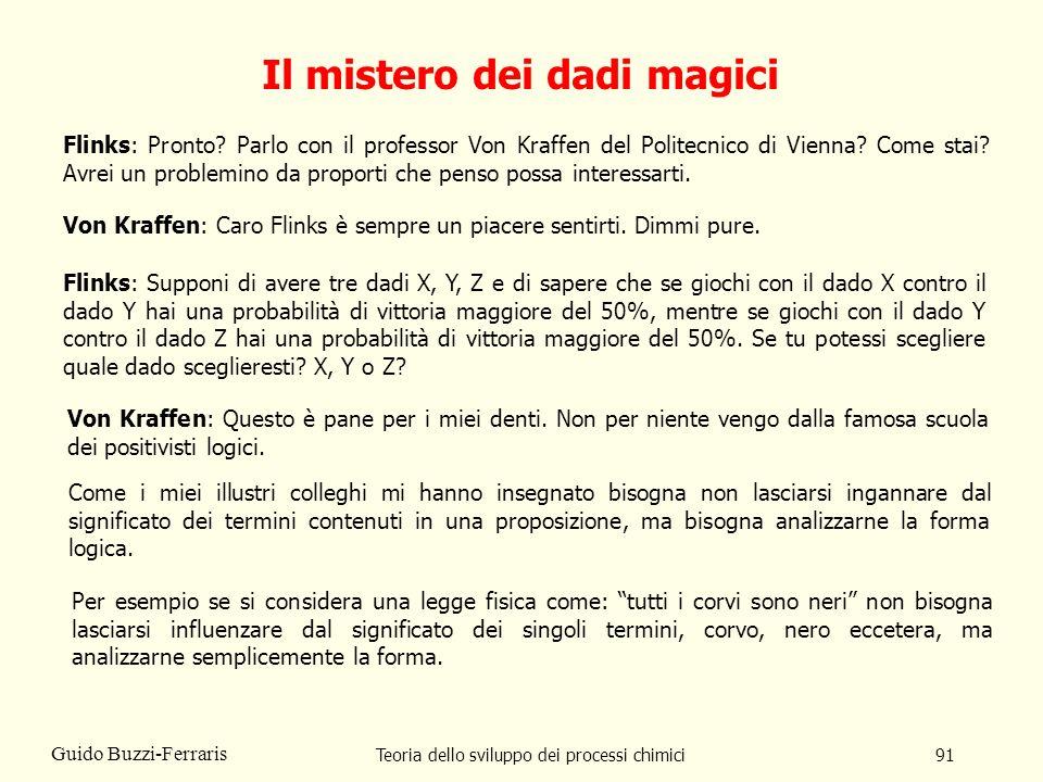 Teoria dello sviluppo dei processi chimici91 Guido Buzzi-Ferraris Il mistero dei dadi magici Flinks: Pronto? Parlo con il professor Von Kraffen del Po