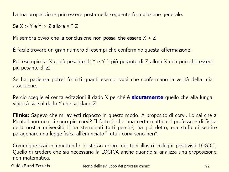 Teoria dello sviluppo dei processi chimici92 Guido Buzzi-Ferraris La tua proposizione può essere posta nella seguente formulazione generale. Se X > Y
