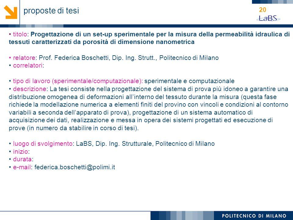 20 titolo: Progettazione di un set-up sperimentale per la misura della permeabilità idraulica di tessuti caratterizzati da porosità di dimensione nano